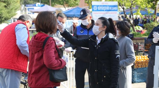 Efeler Belediyesi pazar yerinde koranavirüs önlemlerini arttırdı