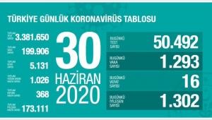 Türkiye'de koronavirüs salgınında 1302 kişi daha iyileşti. Virüs 16 can daha aldı.